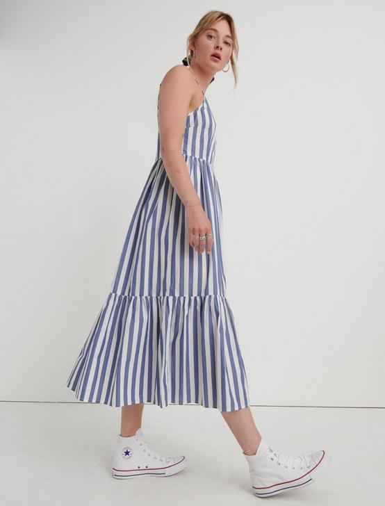 STRIPE POPLIN DRESS, BLUE MULTI, productTileDesktop