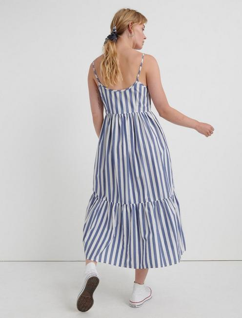 STRIPE POPLIN DRESS, BLUE MULTI