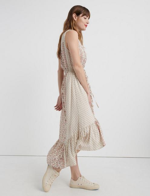 BORDER PRINT FELICE DRESS, NATURAL MULTI