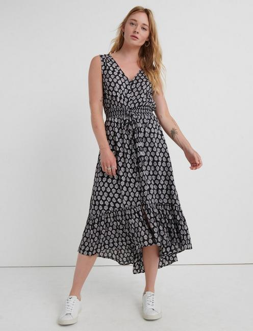 PRINTED FELICE DRESS, BLACK MULTI