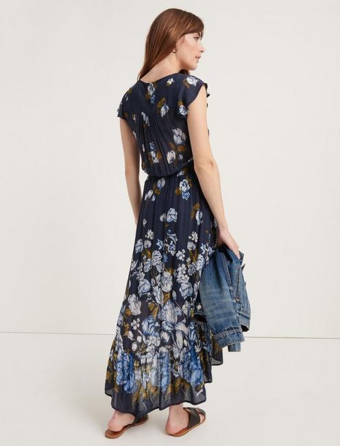 FLORAL PRINTED FELICE DRESS, NAVY MULTI