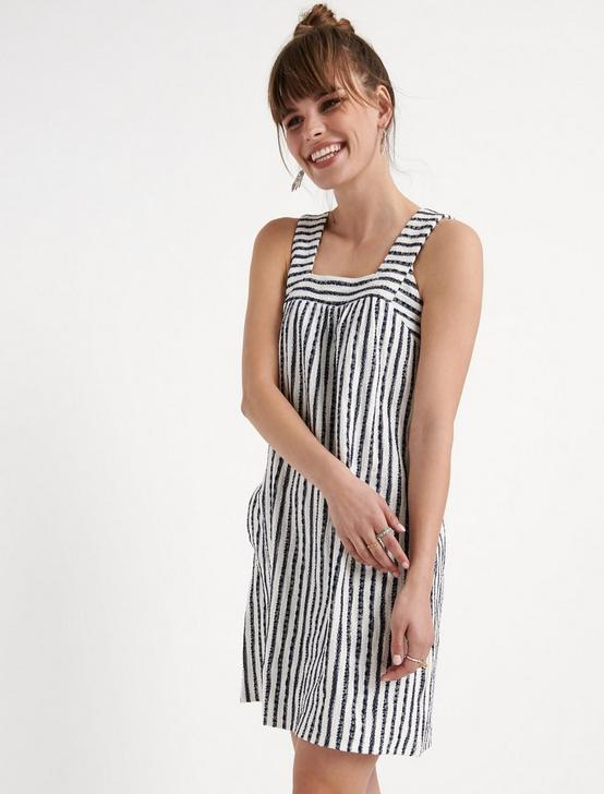 STRIPE TEXTURED TANK DRESS, NAVY STRIPE, productTileDesktop