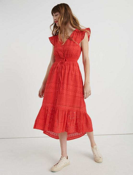 EYELET FLUTTER SLEEVE DRESS, BITTERSWEET, productTileDesktop