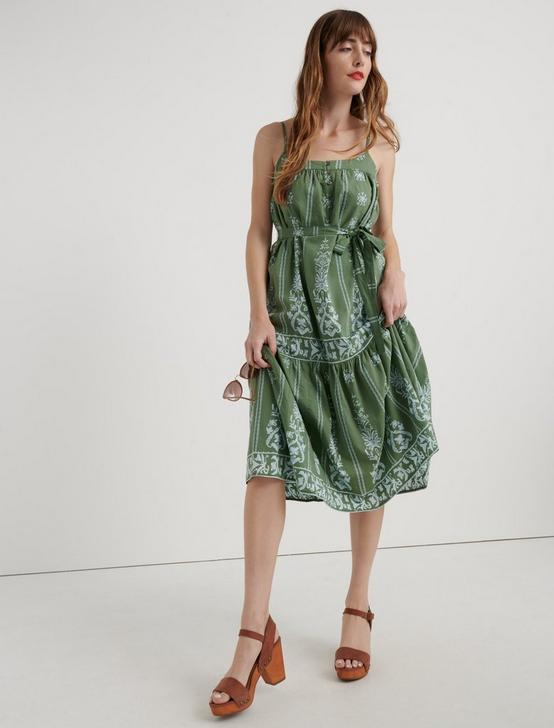 NIKKI MIDI DRESS, GREEN MULTI, productTileDesktop