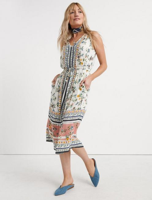 Border Print Midi Dress