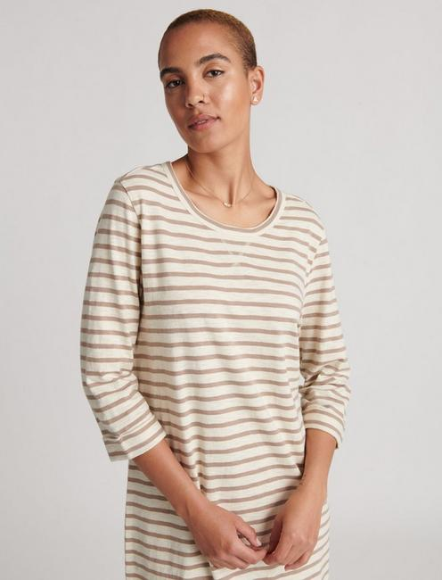 STRIPE TEE DRESS, TAN MULTI