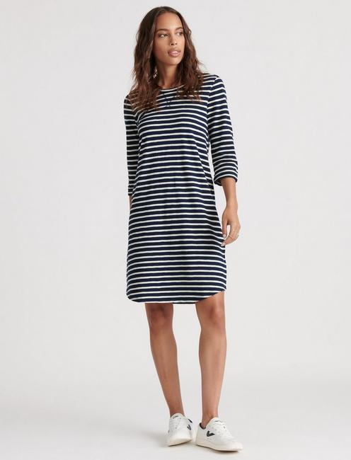 STRIPE TEE DRESS, NAVY MULTI