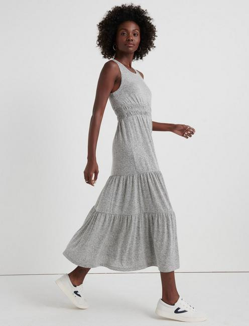 CLOUD JERSEY TIERED MAXI, HEATHER GREY