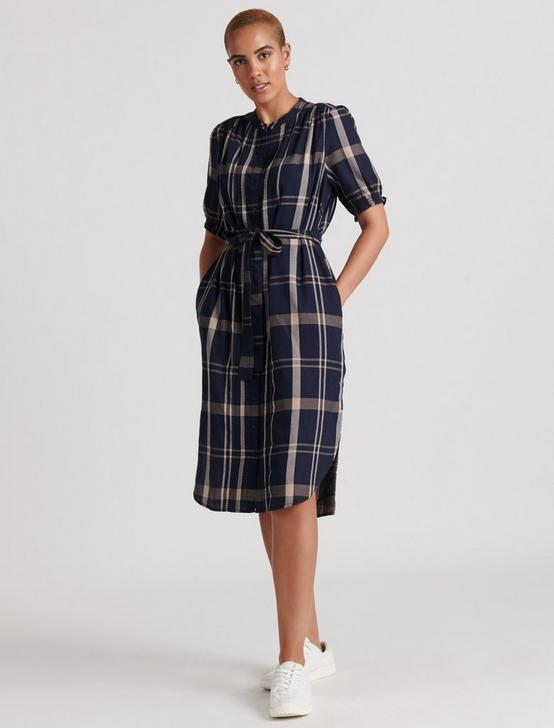 DAKOTA PLAID DRESS, NAVY MULTI, productTileDesktop