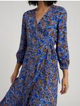KARIN WRAP DRESS, BLUE MULTI