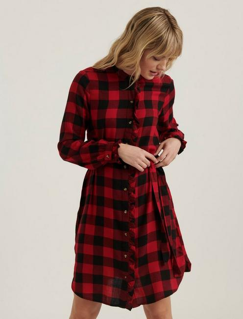 MACKENZIE PLAID DRESS, RED MULTI