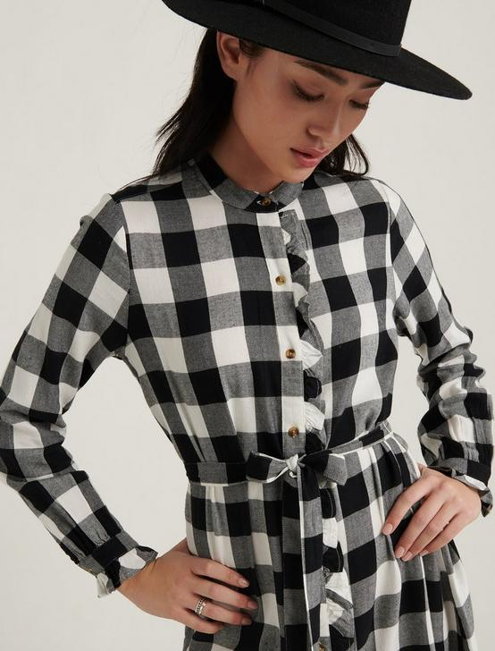 MACKENZIE PLAID DRESS, BLACK MULTI, productTileDesktop