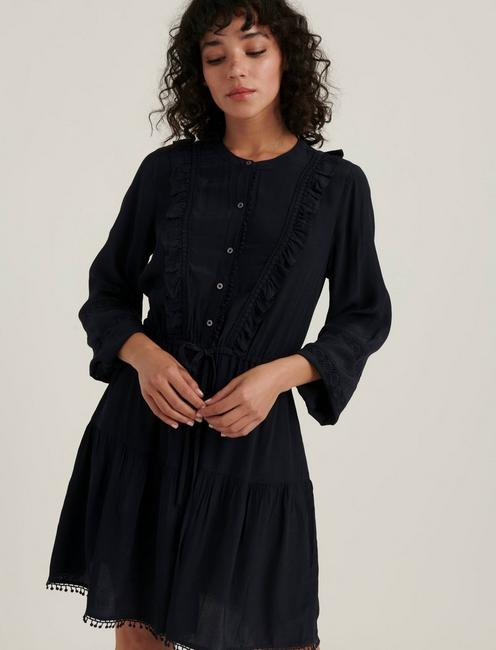 PARKER RUFFLE DRESS, AMERICAN NAVY