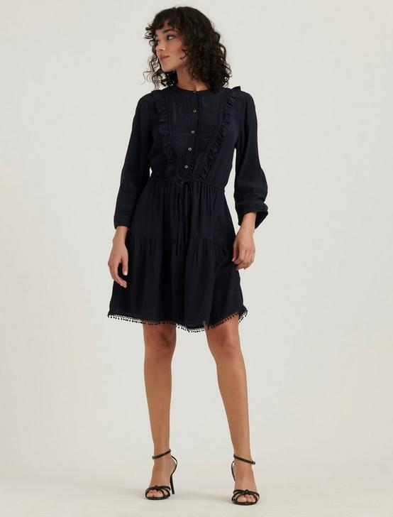 PARKER RUFFLE DRESS, AMERICAN NAVY, productTileDesktop