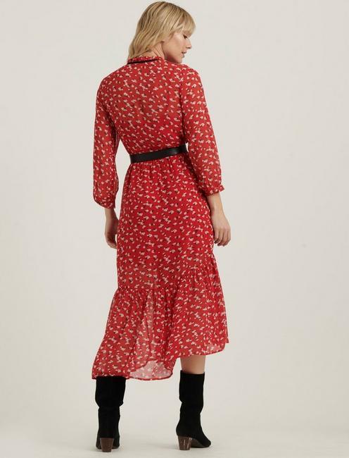PRINTED RYAN DRESS, RED MULTI
