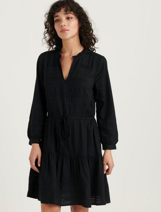 KOURTNEY PINTUCK DRESS, 001 LUCKY BLACK, productTileDesktop