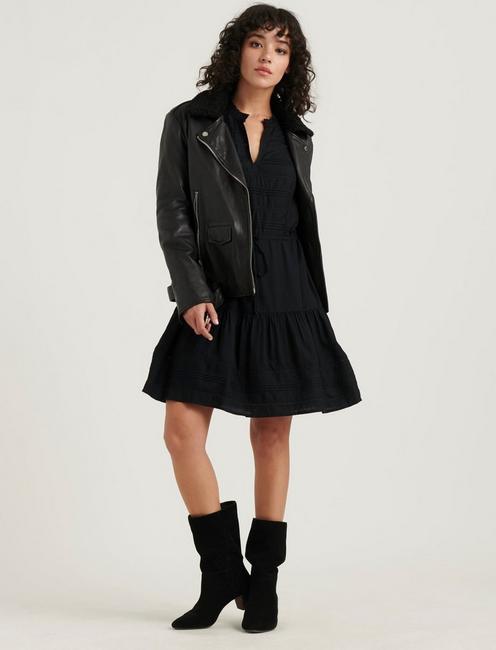 KOURTNEY PINTUCK DRESS, 001 LUCKY BLACK