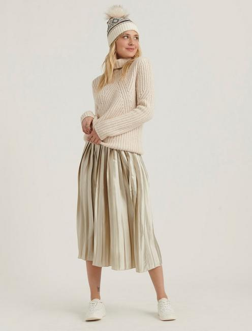 PLEATED BROOKLYN SKIRT, CHAMPAGNE