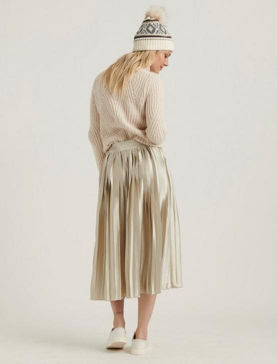 PLEATED BROOKLYN SKIRT, CHAMPAGNE, productTileDesktop