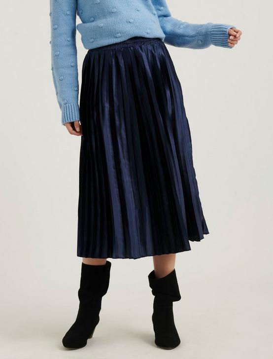 PLEATED BROOKLYN SKIRT, AMERICAN NAVY, productTileDesktop