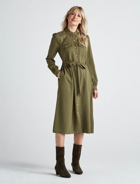 CHELSEA UTILITY DRESS, BURNT OLIVE, productTileDesktop