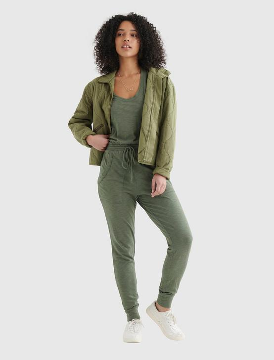 SLEEVELESS UTILITY-POCKET JUMPSUIT, BRONZE GREEN, productTileDesktop