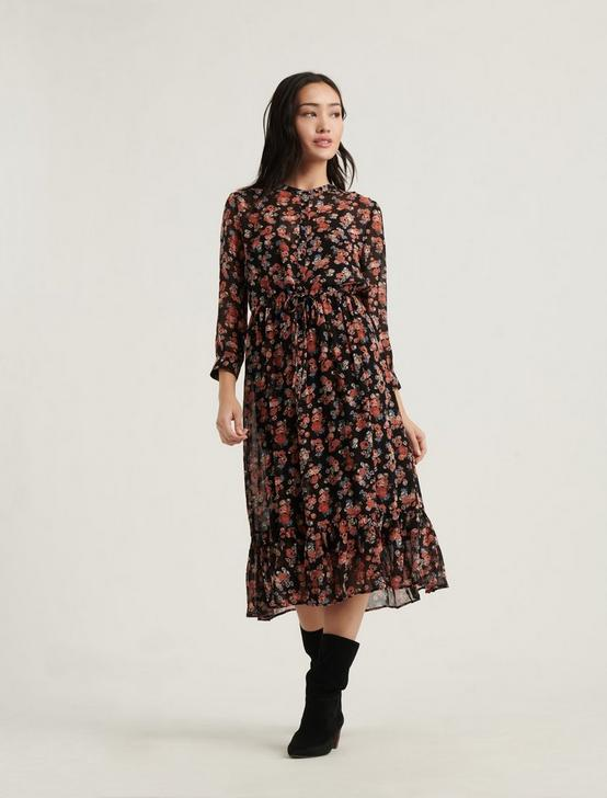 GEORGIA MIDI DRESS, BLACK MULTI, productTileDesktop