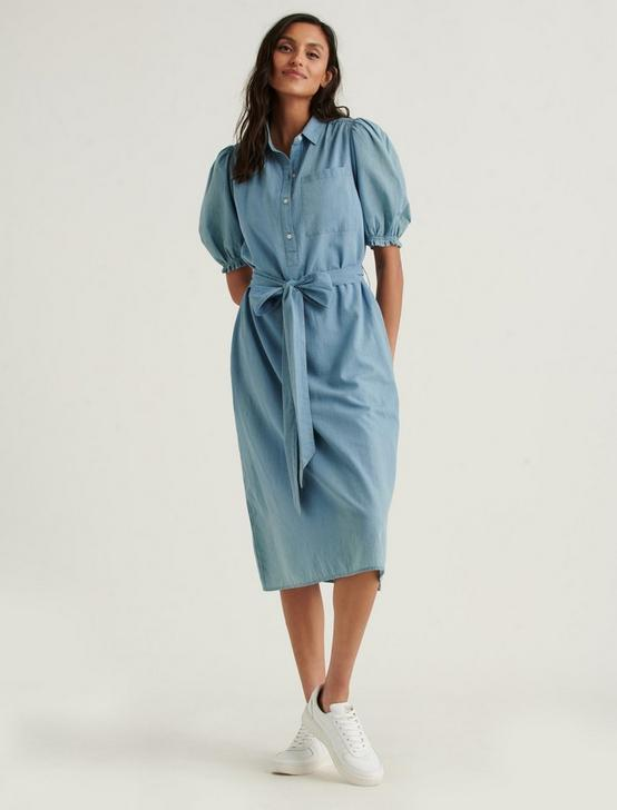 CAMILLE MIDI SHIRTDRESS, LIGHT WASH, productTileDesktop