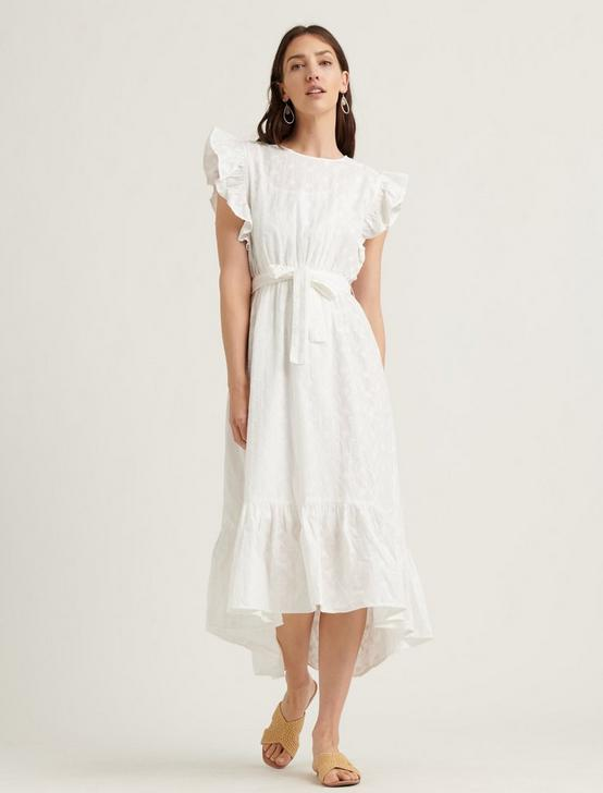 FLUTTER SLEEVE REESE DRESS, LUCKY WHITE, productTileDesktop