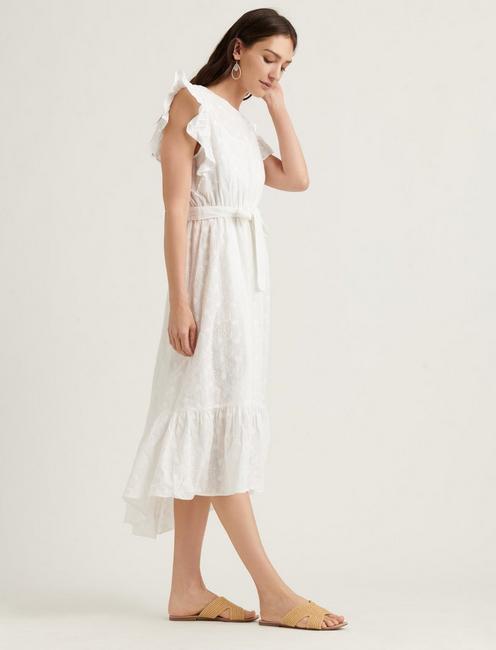FLUTTER SLEEVE REESE DRESS, LUCKY WHITE