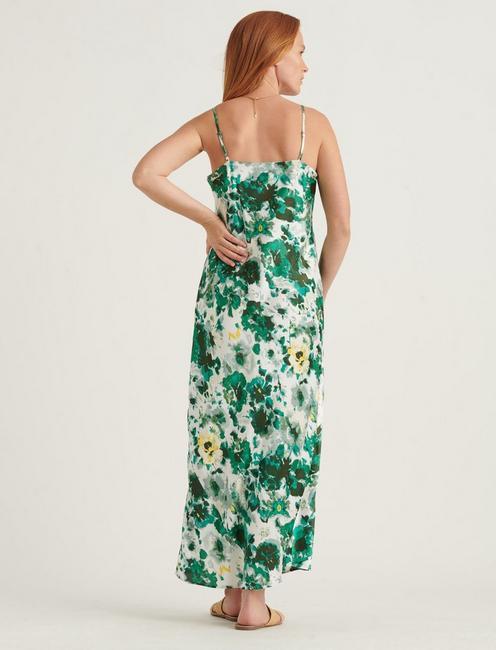 NATALIE SLIP MAXI DRESS, GREEN MULTI