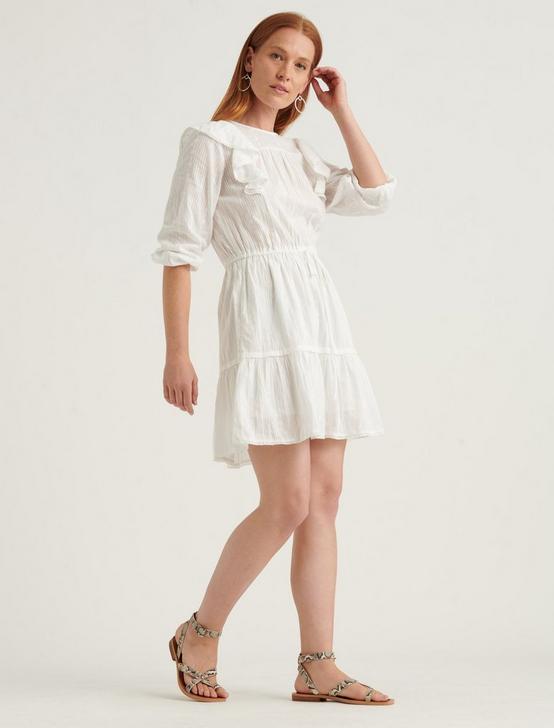 CHARLIE RUFFLE MINI DRESS, LUCKY WHITE, productTileDesktop