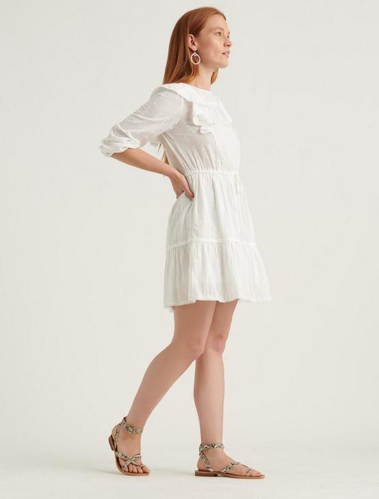 CHARLIE RUFFLE MINI DRESS, LUCKY WHITE, productTileDesktop