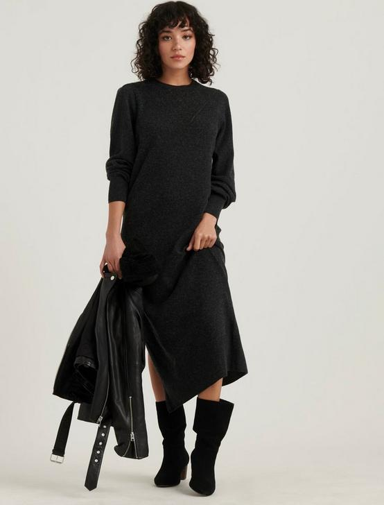POINTELLE SWEATER DRESS, CHARCOAL HEATHER, productTileDesktop