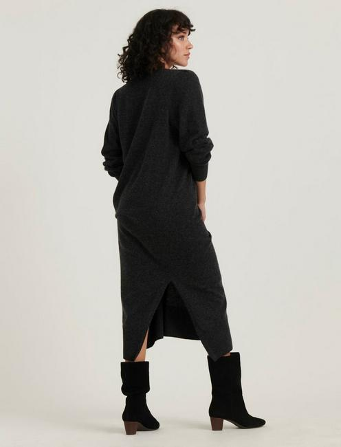 POINTELLE SWEATER DRESS, CHARCOAL HEATHER