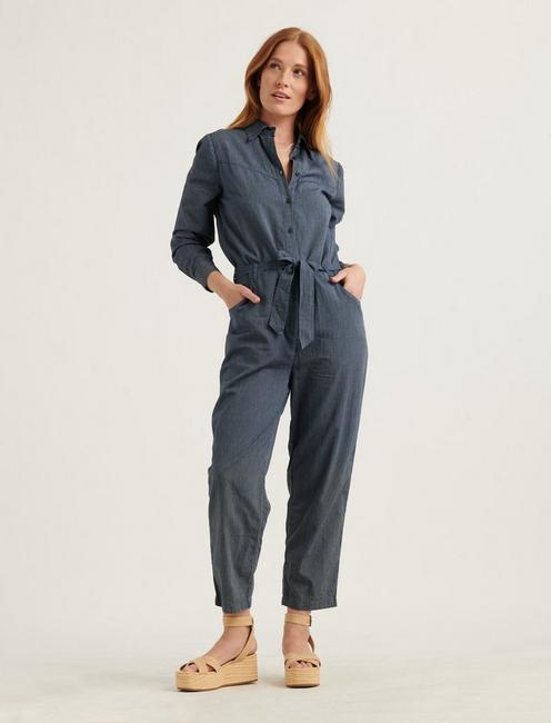 LOGAN STRIPE JUMPSUIT, DARK WASH