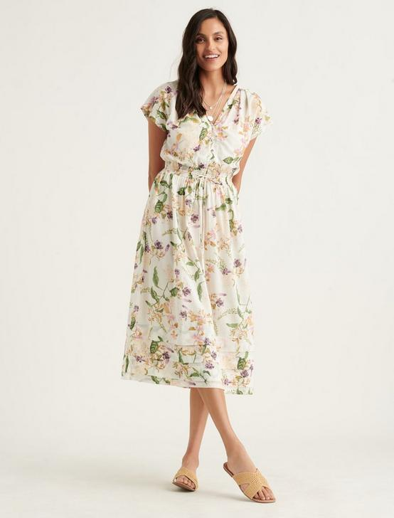 FLORAL VNECK MIDI DRESS, NATURAL MULTI, productTileDesktop