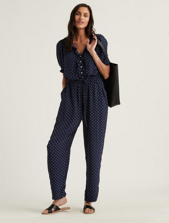 RUFFLE JUMPSUIT, NAVY MULTI, productTileDesktop
