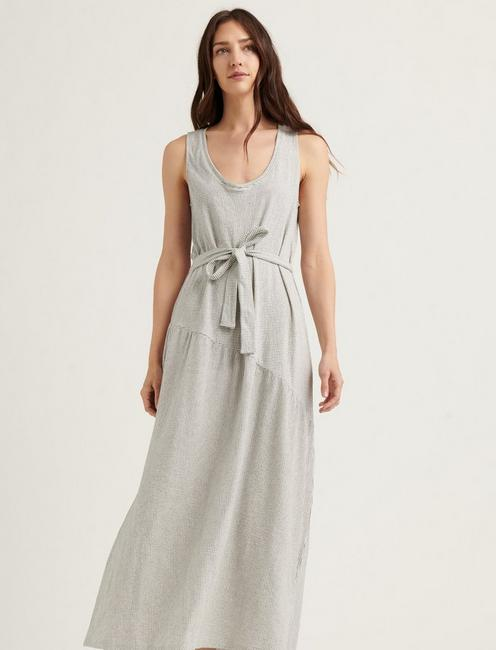 ELIZA STRIPE BELTED MAXI DRESS, WHITE/NAVY