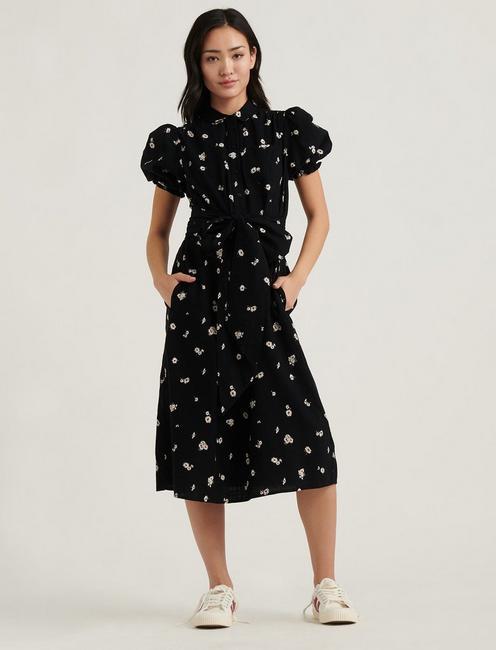 CAMILLE SHIRT DRESS, BLACK MULTI