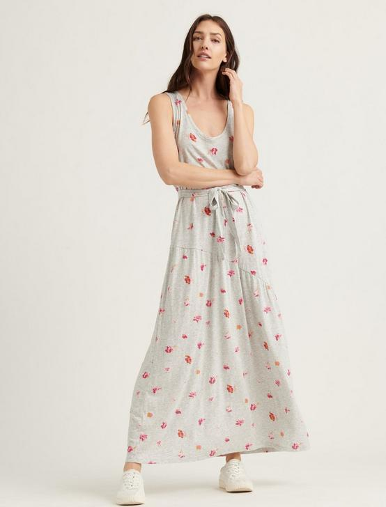 ELIZA FLORAL BELTED MAXI DRESS, HEATHER GREY MULTI, productTileDesktop