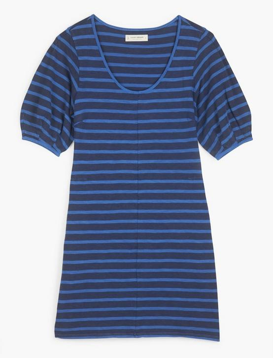 INDIGO PUFF SLEEVE T-SHIRT DRESS, INDIGO STRIPE, productTileDesktop