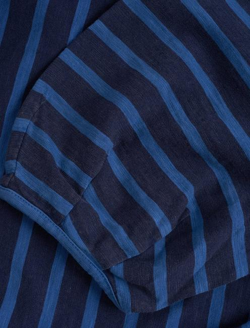 INDIGO PUFF SLEEVE T-SHIRT DRESS, INDIGO STRIPE