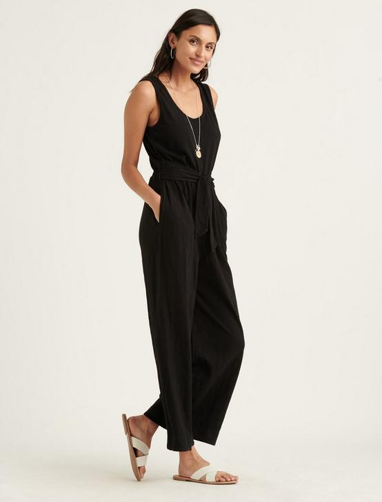 COTTON SLUB JUMPSUIT, 001 LUCKY BLACK, productTileDesktop