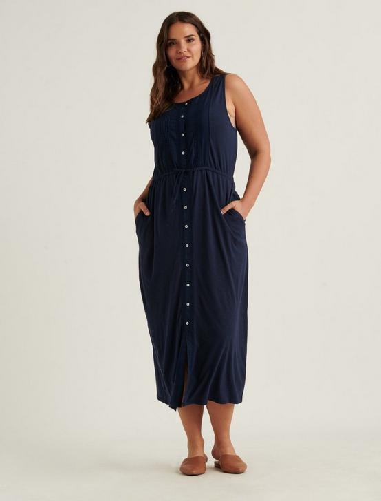 KNIT PINTUCK MIDI DRESS, AMERICAN NAVY, productTileDesktop