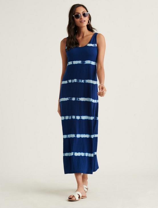 EASY KNIT MAXI DRESS, BLUE TIE DYE STRIPE, productTileDesktop