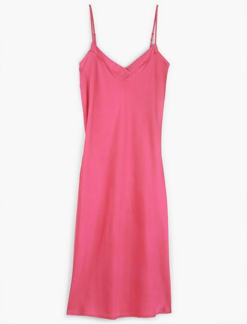 SATIN MIDI DRESS, HOT PINK