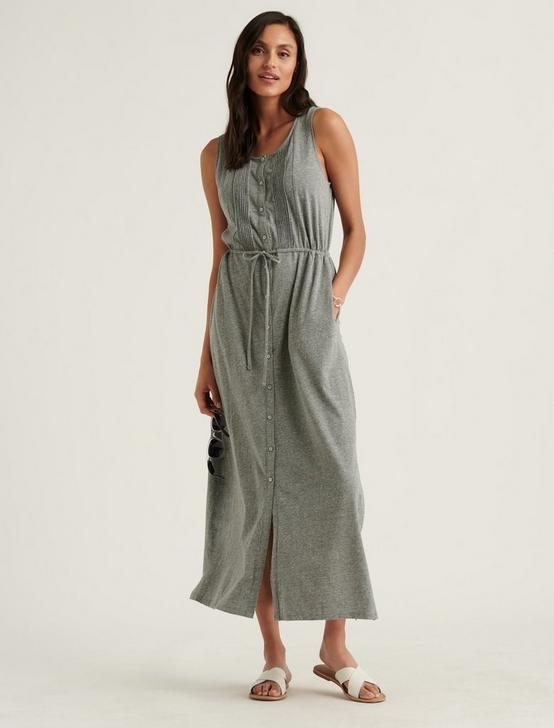 KNIT PINTUCK MIDI DRESS, MEDIUM HEATHER GRAY, productTileDesktop