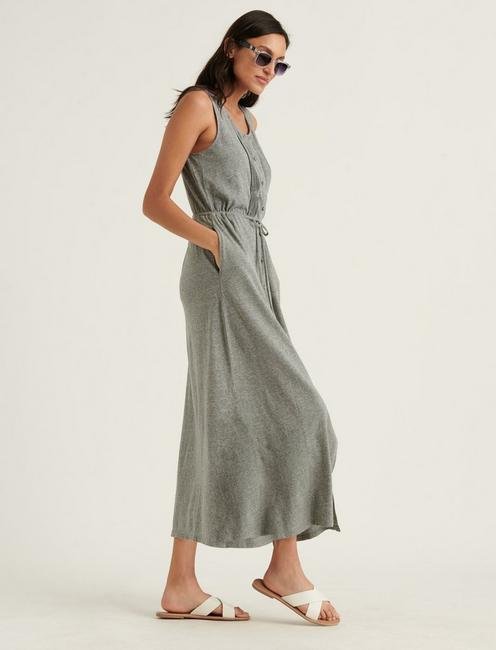 KNIT PINTUCK MIDI DRESS, MEDIUM HEATHER GRAY