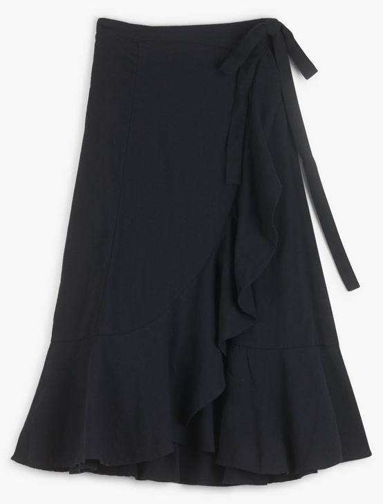 KIRA WRAP SKIRT, 001 LUCKY BLACK, productTileDesktop